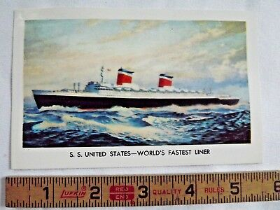 Official 1957 SS United States US Lines Post Card - World's Fastest Liner