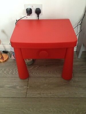 Ikea Childs Red Mammut Bedside Table Vgc