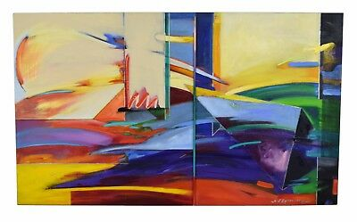 Vintage Large Abstract Geometric Oil Painting Signed