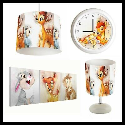 BAMBI & THUMPER (409) - Unisex Nursery - Lampshade, Lamp, Clock & Pictures