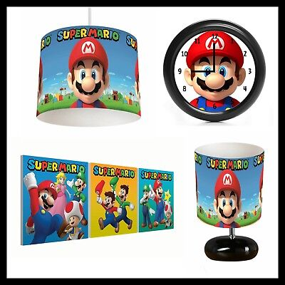 MARIO BROTHERS (389) - Boys Bedroom - Lampshade, Lamp, Clock & Pictures