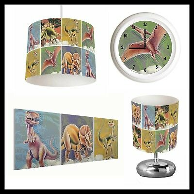 DINOSAURS (368) - Boys Bedroom - Lampshade, Lamp, Clock & Pictures