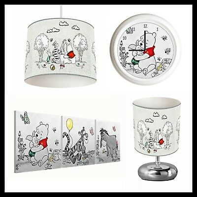 WINNIE THE POOH (201) - Unisex Nursery - Lampshade, Lamp, Clock & Pictures