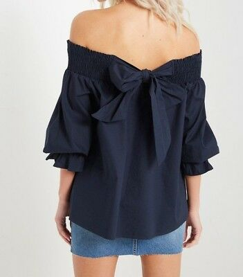 35a8bf6487a New Soprano Off Shoulder Back Bow Ruffle Navy Blue Top Shirt Blouse XS S M L