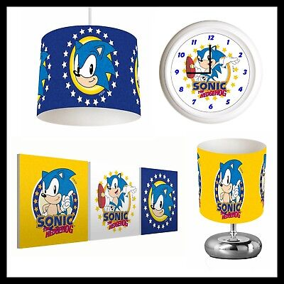SONIC THE HEDGEHOG (294) - Boys Bedroom - Lampshade, Lamp, Clock & Pictures
