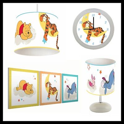 WINNIE THE POOH Rise & Shine (125) - Nursery - Lampshade, Lamp, Clock & Pictures
