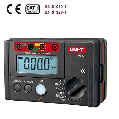 UNI-T UT521 LCD Digital Earth Ground Resistance Tester AC Voltage Meter 0-2000Ω