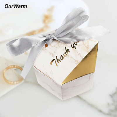 100x Marble Sweet Cake Candy Box Gift Boxes With Ribbon Wedding Birthday Favor