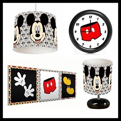 RETRO MICKEY MOUSE (022) - Boys Bedroom - Lampshade, Lamp, Clock & Pictures