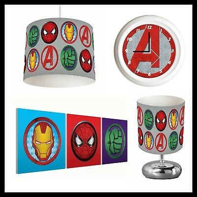AVENGERS LOGOS (306) - Boys Bedroom - Lampshade, Lamp, Clock & Pictures