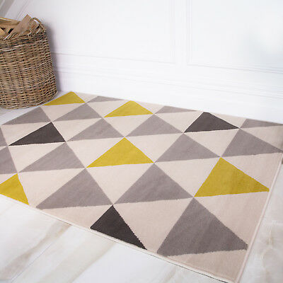Ochre Mustard Yellow Gold Harlequin Triangles Pattern Living Room Geometric Rug