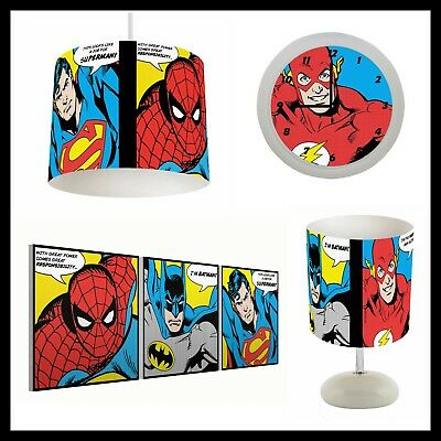 DC SUPERHEROS POPART (066) - Boys Bedroom - Lampshade, Lamp, Clock & Pictures