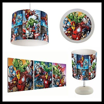 AVENGERS (048) - Boys Bedroom - Lampshade, Lamp, Clock & Pictures