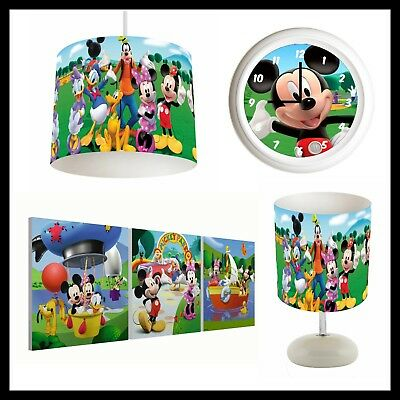 MICKEY MOUSE CLUBHOUSE (040) - Boys Bedroom - Lampshade, Lamp, Clock & Pictures