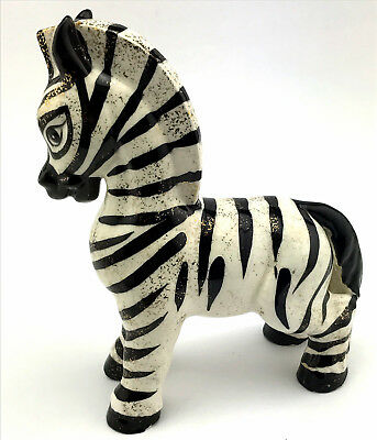 Charming Mid Century Pottery Zebra Black & White with Gold Flecks 8 Inches Tall
