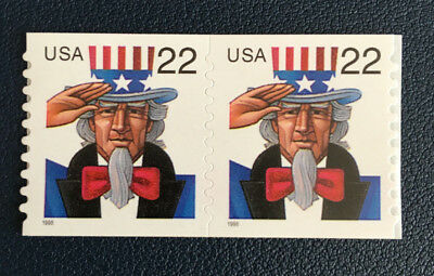 "US Scott # 3263 22c Uncle Sam s/a Coil ""Pair"" Mint"