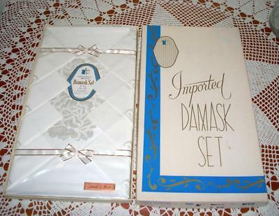 """Vintage NOS Imported White Damask Set New in Box Tablecloth 8 Napkins 54"""" x 74"""""""