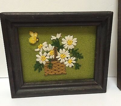 Vtg Framed Completed Crewel Embroidery Girl Braid Daisy Basket Bee Kitsch 1970s