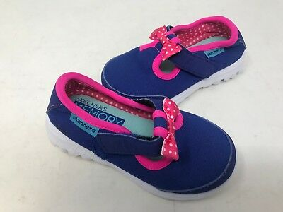 78e58220a8b67 Skechers Toddler Girl's Go Walk Bitty Bow Shoes Blue/Hot Pink Size: