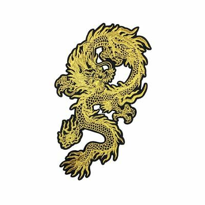 Gold Chinese Dragon (Iron On) Embroidery Applique Patch Sew Iron Badge