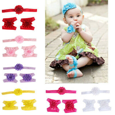 Girls  Sandals Headband Baby Set Barefoot Accessories Elastic Cute Hair Band