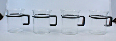 Bodum Bistro Small Coffee Tea Clear Glass Mug Cups Black Handle Set of 4 (F)