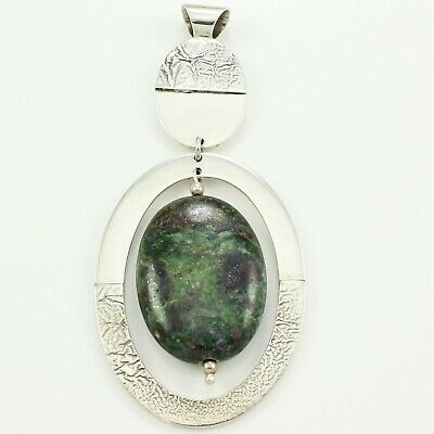 VINTAGE Mexican 925 STERLING Silver RUBY ZOISITE Oval Drop Necklace PENDANT 31g