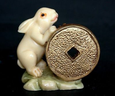 Japanese ivory colored bone  netsuke- Good RABBIT Offer Gold Nugget & Coin too !
