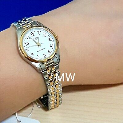 New Casio Ladies Dress Analog Gold Two Tone Stainless Steel Watch LTP-1129G-7B