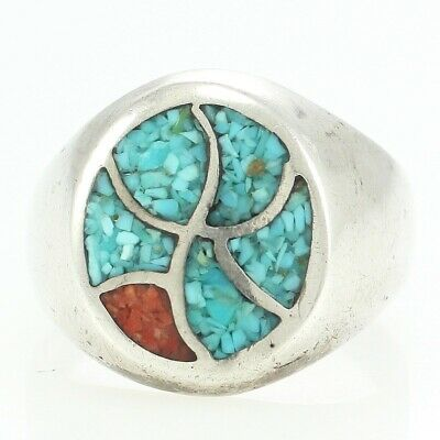 VINTAGE Mosaic Turquoise Coral Sterling Silver Ring Sz 8.5 Southwest Inlay