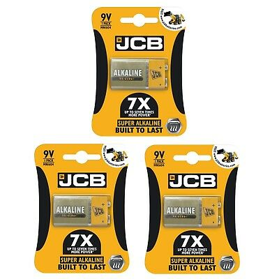 3 x JCB 9V SUPER Alkaline Batteries PP3 NEW BuiltToLast LR22 MN1604 Smoke alarm