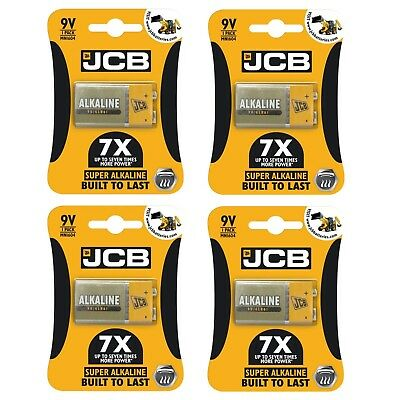 4 x JCB 9V SUPER Alkaline Batteries PP3 NEW BuiltToLast LR22 MN1604 Smoke alarm