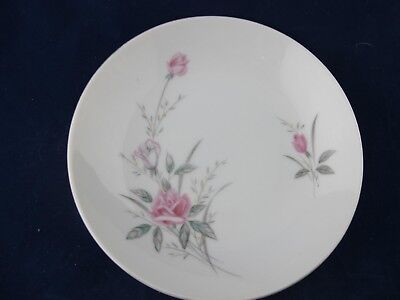 Golden Rose Fine China of Japan Vintage BREAD PLATE Pink Roses Gray, Gold Trim