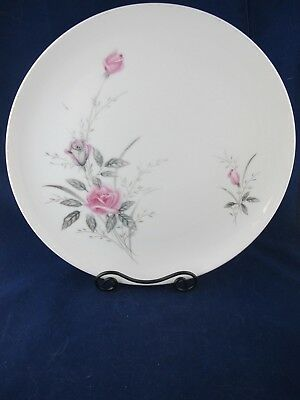 Golden Rose Fine China of Japan Vintage DINNER PLATE Pink Roses Gray, Gold Trim