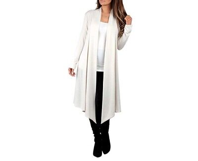RAGS AND COUTURE Women's Knee Length Draped Hacci Cardigan