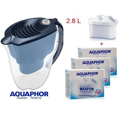 AQUAPHOR AMETHYST Water Filter Pitcher Jug Blue (2.8L) 1+3 Replacement cartridge