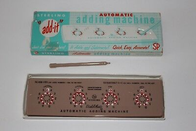 Vintage 1950s Sterling ADD IT Dial Matic Automatic Adding Machine w Stylus 565