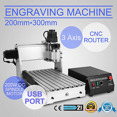 3 Axis 3020T Usb Cnc Router Engraver Engraving Machine 300X200Mm Artwork Milling