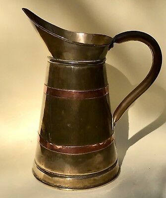 Vintage English Brass & Copper Water Pitcher Jug England.
