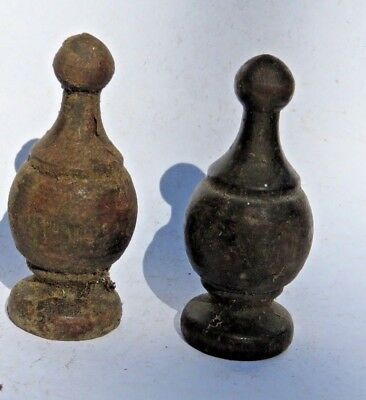 Antique Pair Turned Wood Finials from antique dressing table