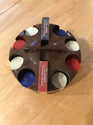 Vintage Poker Chip Revolving Caddy/Holder Marbled Bakelite Chips And Two Decks O