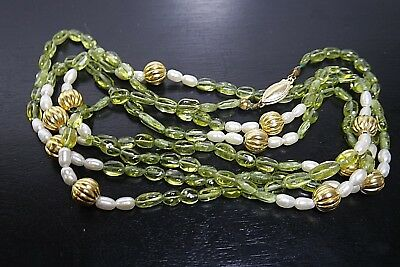 Vintage Chinese Green Peridot White Pearl Gold Plate Bead  45''Necklace