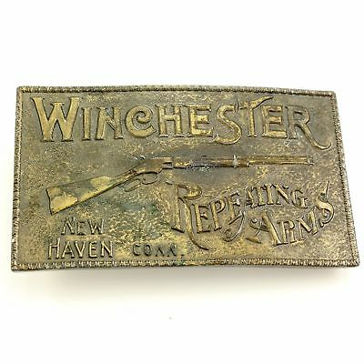 Vintage Brass LEWIS BUCKLES WINCHESTERS REPEATING ARMS Rifle BELT BUCKLE