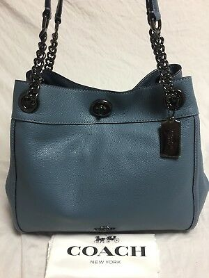 ... sale nwt coach 36855 turnlock edie shoulder bag pebble leather purse  chambray 395 417ee d1dcf 414e486ed06a3