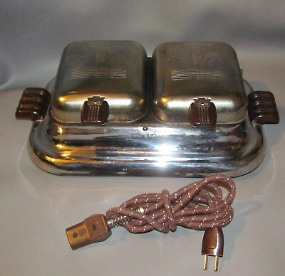 General Electric Double Lid Electric Waffle Maker chrome Model 119W8 Art Deco