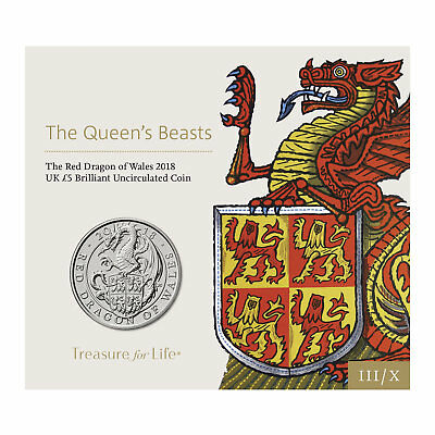 2018 UK £5 The Red Dragon of Wales - Queen's Beasts BU Coin