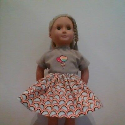 New Generation Doll Clothes Rainbow Balloons Shirt Skirt Fit 18In Doll