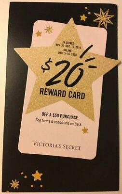 Victoria Secret Pink $20 off $50 Holiday Reward Card Online and In store UNUSED