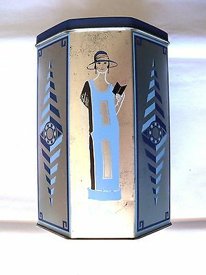Octagon Tin -6 1/2 Inch Tall Tin - Blue And Silver In 1920's Fashion- Hinged Lid