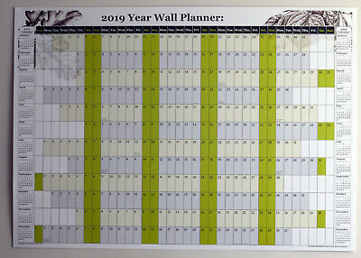 2019 A1 Size Wall planner yearly chart  U.K. public holidays & 2019/20 calendar